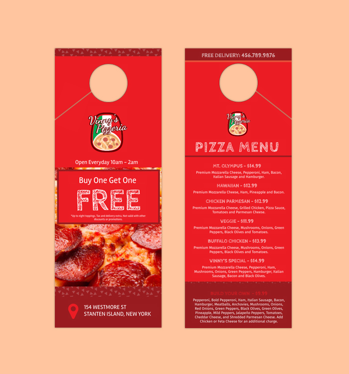 Door Hanger Pizza Design