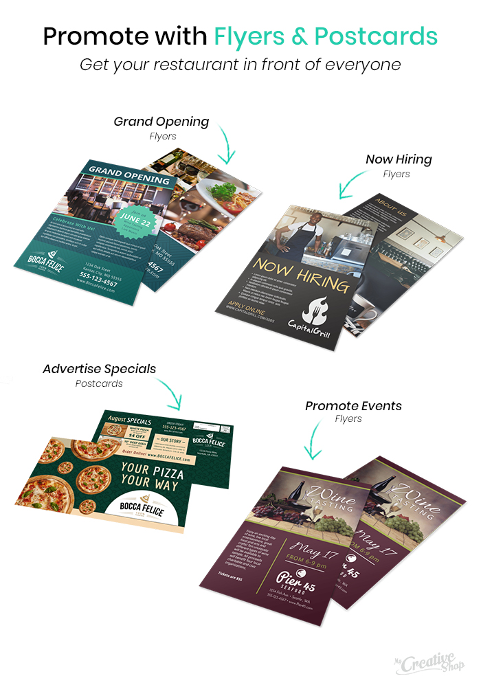 Restaurant Flyers & Postcards