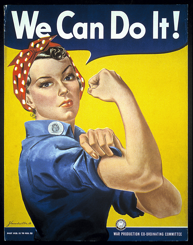 """Poster.  """"We Can Do It!"""" or Rosie, the Riveter.  1985.0851.05."""