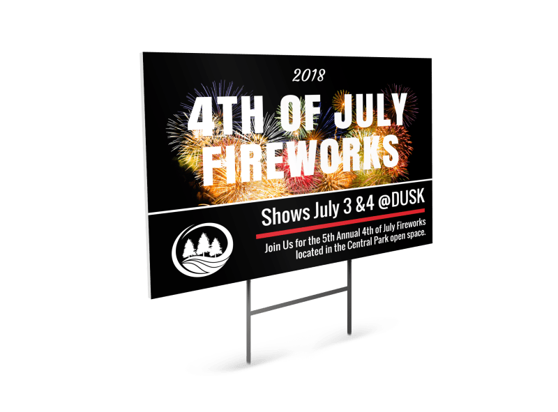 4th Of July Fireworks Yard Sign Flyer Inspiration
