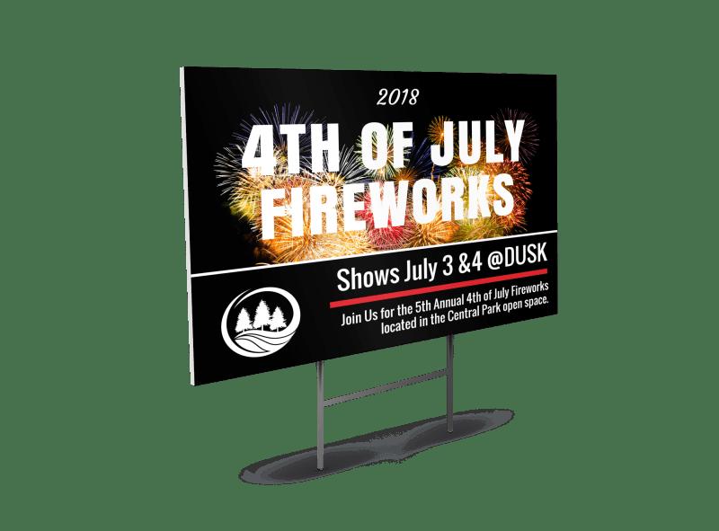 4th Of July Fireworks Yard Sign Flyer Inspiration