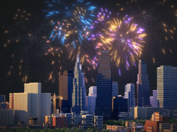 City Skyline Fireworks