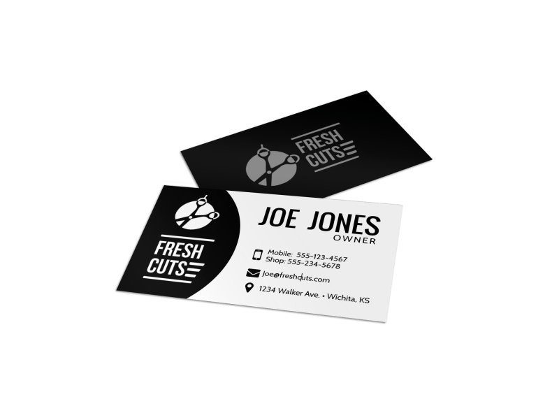 Black and White Barber Shop Business Card Template