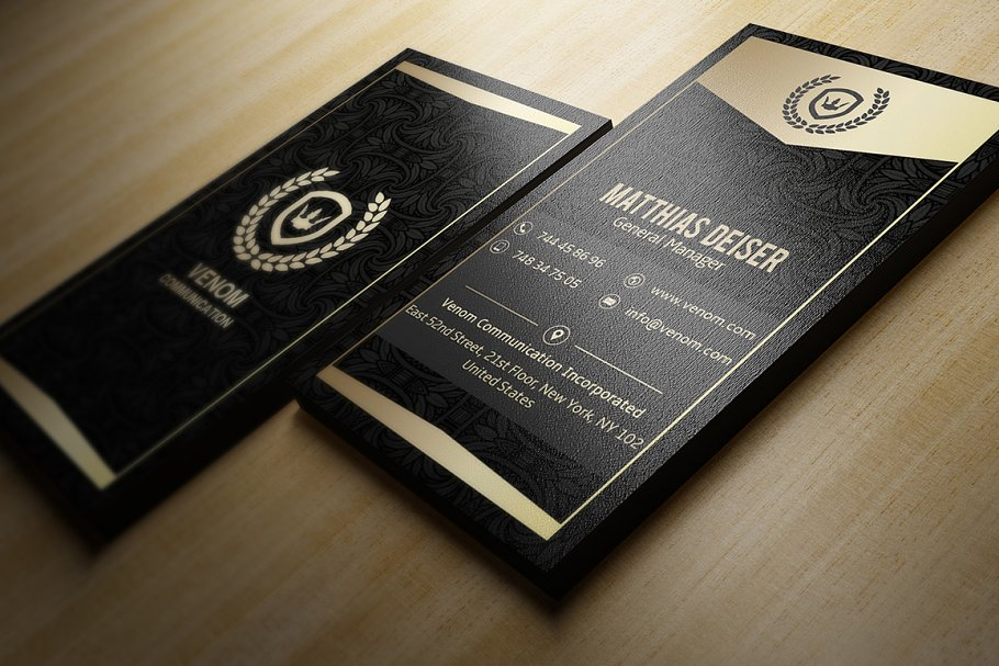 Luxurious Gold and Black Business Card by Marvel