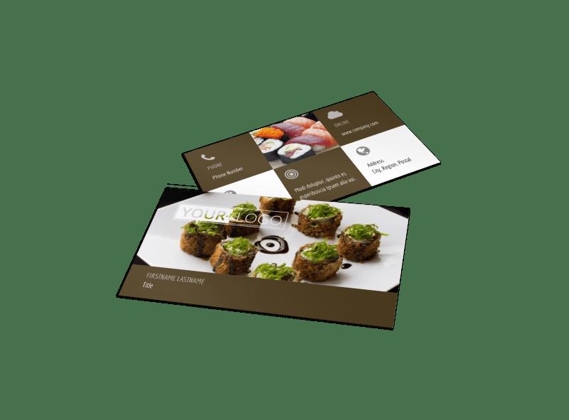 Photocentric Sushi Restaurant Biz Card Template