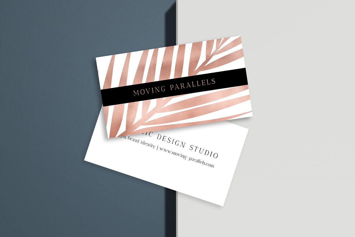 Rose Gold Palm Foil Business Card 9 by Moving Parallels