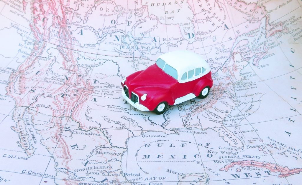 Car on Map of North America